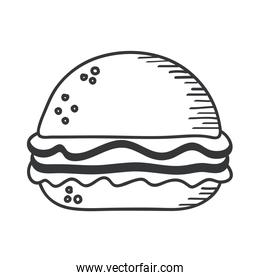 hamburger hand draw and line style icon vector design