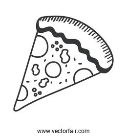 pizza hand draw and line style icon vector design
