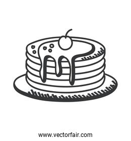 Breakfast pancakes hand draw and line style icon vector design