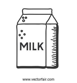 milk box hand draw and line style icon vector design
