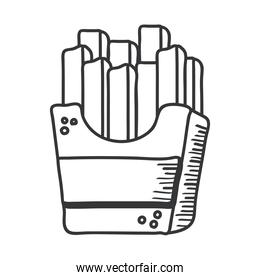 french fries hand draw and line style icon vector design