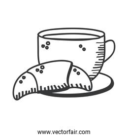 Breakfast coffee cup with croissant bread hand draw and line style icon vector design
