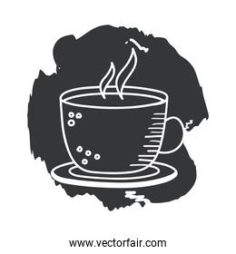 coffee cup hand draw and block style icon vector design