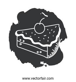 sweet cake hand draw and block style icon vector design