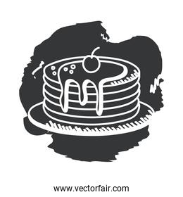 Breakfast pancakes hand draw and block style icon vector design