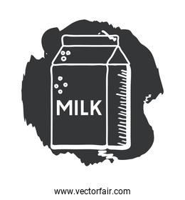 milk box hand draw and block style icon vector design