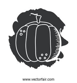 pumpkin vegetable hand draw and block style icon vector design