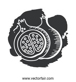 grenade fruit hand draw and block style icon vector design
