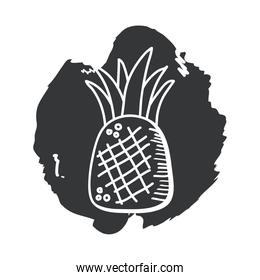 pineapple fruit hand draw and block style icon vector design