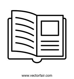 open book with picture line style icon vector design