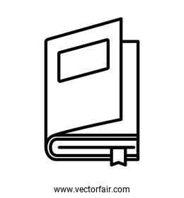 open book with label and ribbon line style icon vector design