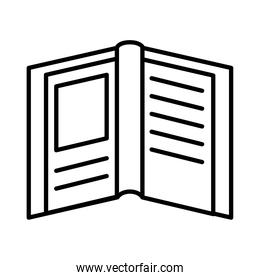 open book with frame line style icon vector design