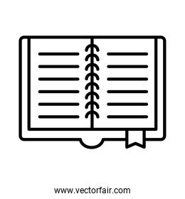 open book with ribbon line style icon vector design