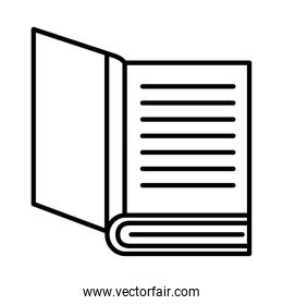 open book with lines line style icon vector design