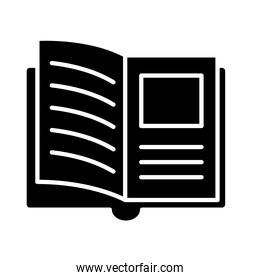 open book with picture silhouette style icon vector design
