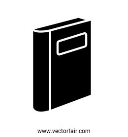 closed book with label silhouette style icon isolated vector design