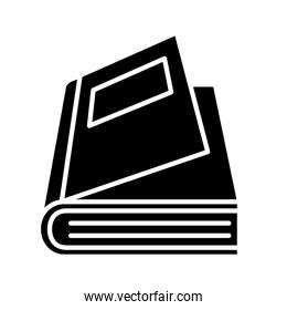 open book with label silhouette style icon vector design