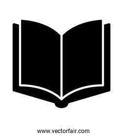 open book in blank silhouette style icon vector design