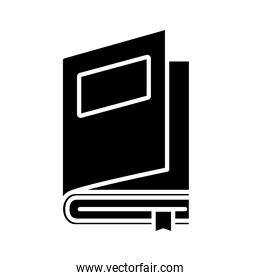 open book with label and ribbon silhouette style icon vector design