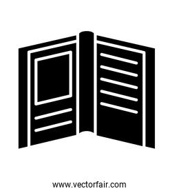 open book with frame silhouette style icon vector design