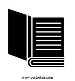 open book with lines silhouette style icon vector design