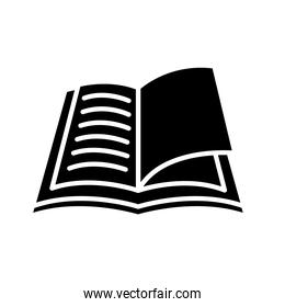 open book silhouette style icon isolated vector design