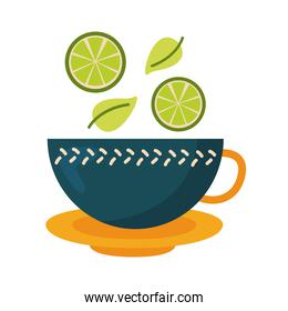 tea cup with lemons and leaves vector design