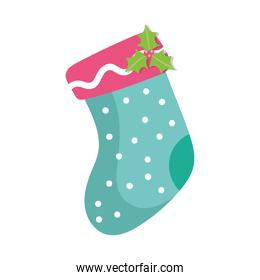 cute sock christmas with decoration isolated icon