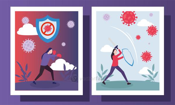 covid 19 virus fight and women in frames labels vector design