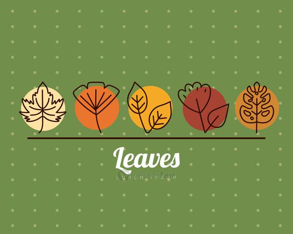 leaves line style icons on pointed background vector design