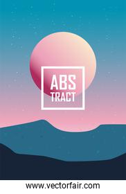 Abstract background design with sun and mountains