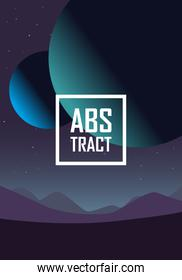 Abstract background design with planets and mountains