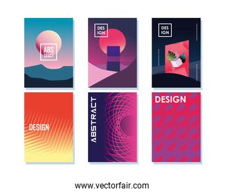 Abstract backgrounds icon set designs
