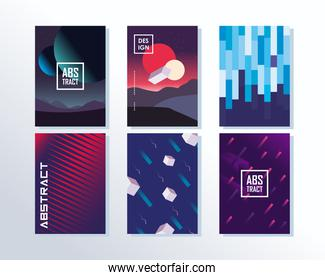 Abstract backgrounds set of icons designs