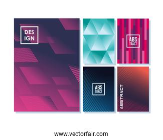 Abstract backgrounds icon collection designs
