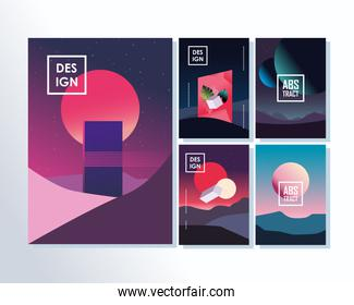 Abstract backgrounds symbol set designs