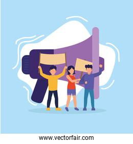 Protest people with banners and megaphone vector design