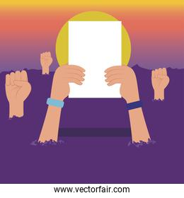 Protest hands holding paper vector design