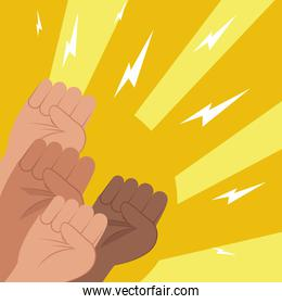 Protest fists hands with thunders vector design
