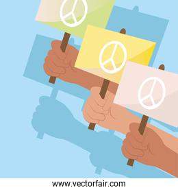 Protest hands holdings love and peace banners vector design