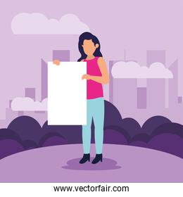 Protest woman with banner vector design