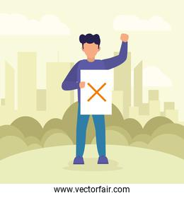 Protest man holding banner with cross vector design