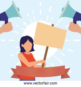 Protest woman with banner and megaphones vector design