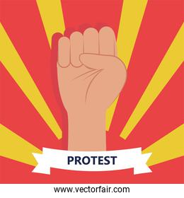Protest fist hand on striped background vector design
