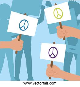 Protest hands with love and peace banners vector design