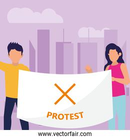 Protest woman and man with banner vector design