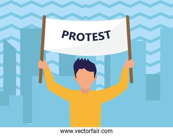 Protest man with banner at city vector design