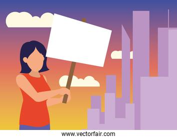 Protest woman with banner at city vector design