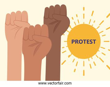 Protest banner with fists hands vector design