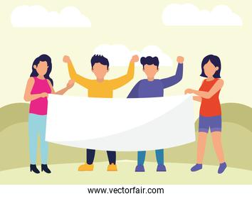 Protest people with banner vector design